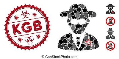 Mosaic KGB Spy Icon with Grunge KGB Seal