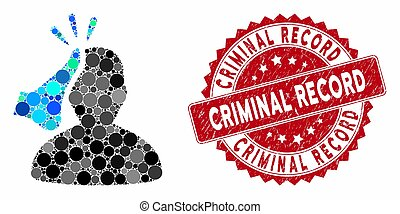 Mosaic kickboxer and corroded stamp seal with Criminal Record text. Mosaic vector is designed with kickboxer icon and with random spheric elements. Criminal Record stamp seal uses red color,