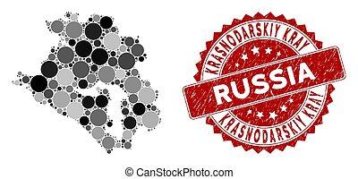 Mosaic Krasnodarskiy Kray Map and Distress Circle Stamp Seal