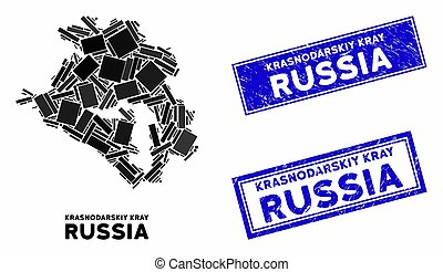 Mosaic Krasnodarskiy Kray Map and Grunge Rectangle Stamps - ...