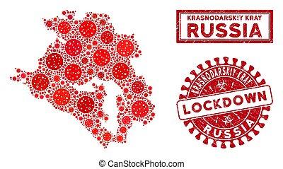 Mosaic Krasnodarskiy Kray Map and Scratched Lockdown ...