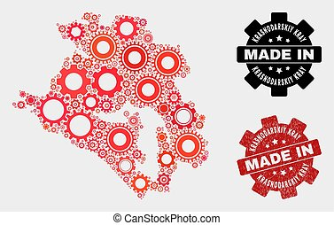 Mosaic Krasnodarskiy Kray Map of Gearwheel Items and Grunge Seal