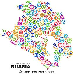 Mosaic Krasnodarskiy Kray Map of Gearwheel Items - Mosaic ...