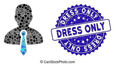 Mosaic Lawyer Tie Icon with Distress Dress Only Stamp