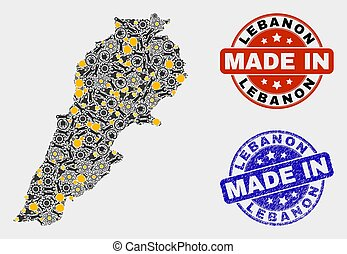 Mosaic Lebanon Map of Technology Items and Made In Grunge Seal