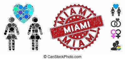 Mosaic Lesbi Love Pair Icon with Distress Miami Seal