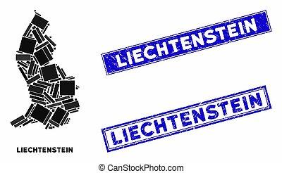 Mosaic Liechtenstein Map and Grunge Rectangle Stamp Seals