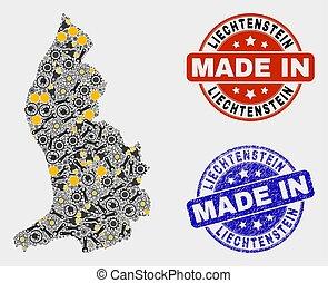 Mosaic Liechtenstein Map of Industry Items and Made In Grunge Stamp