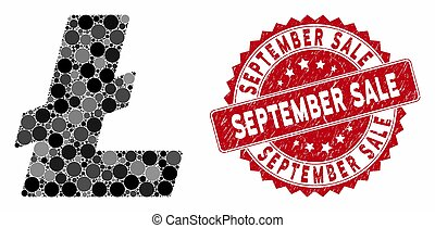 Mosaic Litecoin with Textured September Sale Stamp