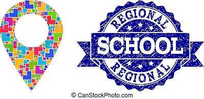 Mosaic Local Map Marker and Grunge School Seal Composition