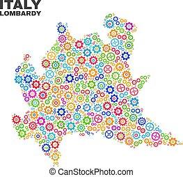 Mosaic Lombardy Region Map of Gearwheel Elements - Mosaic...