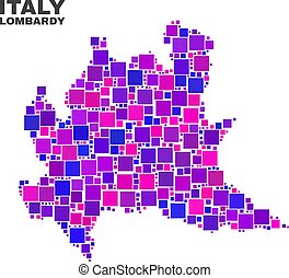 Mosaic Lombardy Region Map of Square Items - Mosaic Lombardy...