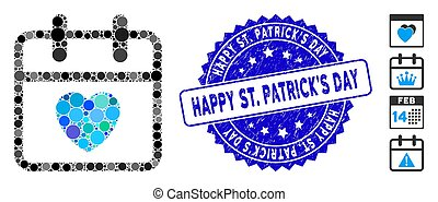 Mosaic Love Day Icon with Scratched Happy St. Patrick'S Day Stamp