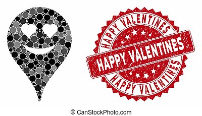 Mosaic Love Smiley Map Marker with Grunge Happy Valentines Stamp