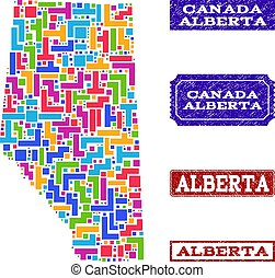 Mosaic Map of Alberta Province and Textured Seals Collage