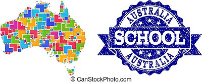 Mosaic Map of Australia and Textured School Seal Collage -...