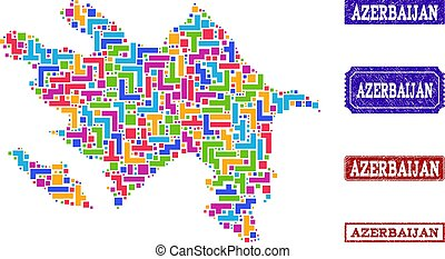 Mosaic Map of Azerbaijan and Grunge Stamps Composition