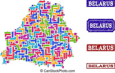 Mosaic Map of Belarus and Distress Stamps Composition