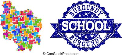 Mosaic Map of Burgundy Province and Distress School Stamp...