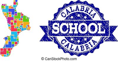 Mosaic Map of Calabria Region and Grunge School Stamp...