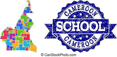 Mosaic Map of Cameroon and Textured School Seal Collage -...