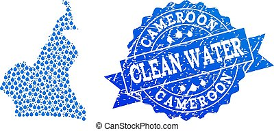 Mosaic Map of Cameroon with Water Dews and Grunge Stamp Seal