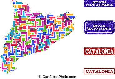 Mosaic Map of Catalonia and Distress Stamps Composition