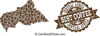 Mosaic Map of Central African Republic with Coffee Beans and Distress Stamp