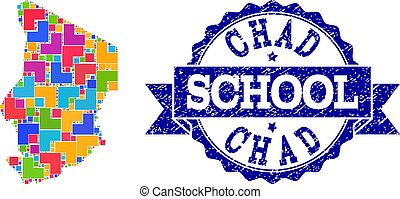 Mosaic Map of Chad and Scratched School Stamp Collage
