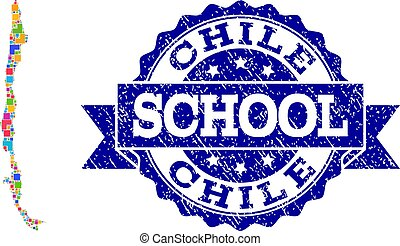 Mosaic Map of Chile and Scratched School Stamp Collage -...