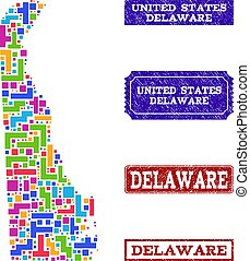 Mosaic Map of Delaware State and Grunge Stamps Collage