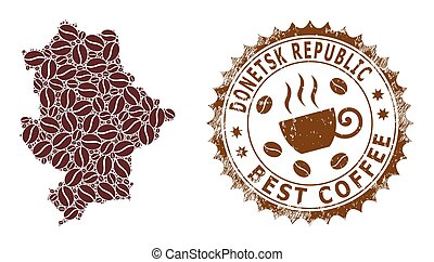 Coffee mosaic map of Donetsk Republic and distress mark. Vector map of Donetsk Republic collage is formed of coffee. Round rosette stamp in brown colors. Vector composition for best cafeteria maps.