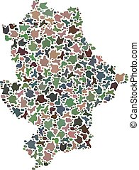 Mosaic map of Donetsk Republic designed with colored flat stones. Vector multicolored geographic abstraction of map of Donetsk Republic.