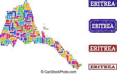 Mosaic Map of Eritrea and Textured Stamps Composition