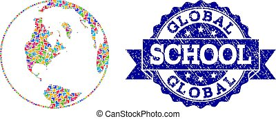 Mosaic Map of Global World and Grunge School Stamp Composition