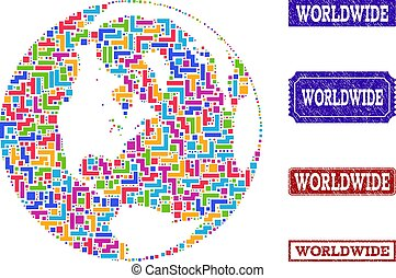 Mosaic Map of Global World and Grunge Seals Collage