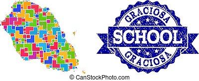 Mosaic Map of Graciosa Island and Grunge School Stamp...