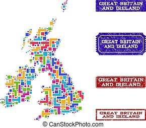 Mosaic Map of Great Britain and Ireland and Distress Stamps Composition