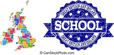 Mosaic Map of Great Britain and Ireland and Grunge School Seal Composition