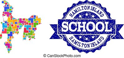 Mosaic Map of Hamilton Island and Distress School Stamp...
