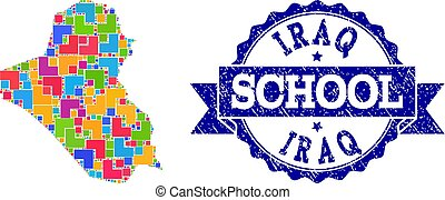 Mosaic Map of Iraq and Distress School Stamp Composition