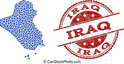 Mosaic Map of Iraq with Connected Circles and Distress Stamp