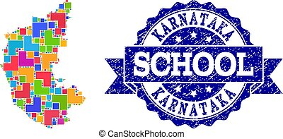 Mosaic Map of Karnataka State and Scratched School Seal Composition