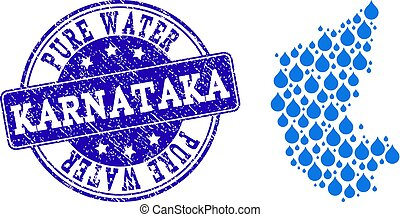 Mosaic Map of Karnataka State with Water Dews and Grunge Stamp