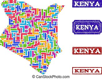 Mosaic Map of Kenya and Textured Seals Composition