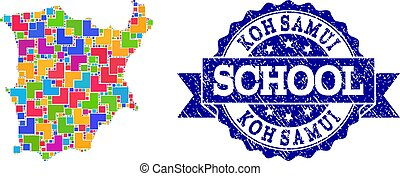 Mosaic Map of Koh Samui and Textured School Stamp Collage