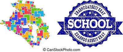 Mosaic Map of Krasnodarskiy Kray and Grunge School Stamp Composition