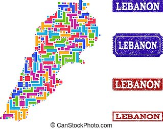 Mosaic Map of Lebanon and Distress Seals Collage