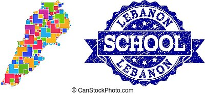 Mosaic Map of Lebanon and Grunge School Stamp Composition