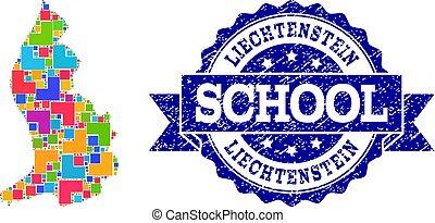 Mosaic Map of Liechtenstein and Textured School Seal Collage